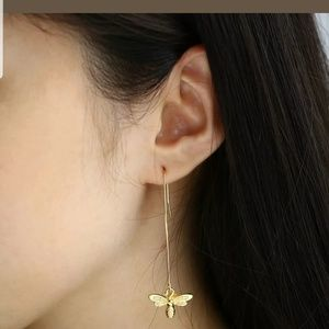 Gold bees long hook earrings